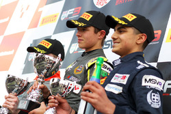Podium: winner Lando Norris, Carlin, second place Aleksanteri Huovinen, Double R Racing, third place Enaam Ahmed, Douglas Motorsport