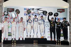 PC podium: winners Jon Bennett, Colin Braun, Mark Wilkins, CORE autosport, second place Robert Alon, Tom Kimber-Smith, Jose Gutierrez, PR1 Mathiasen Motorsports, third place place David Heinemeier Hansson, Renger van der Zande, Alex Popow, Starworks Motorsports, third place