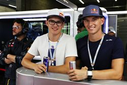 Rallycross drivers, Timmy and Kevin Hansen in the Red Bull Racing garage