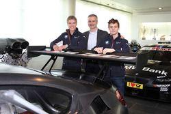 Jesse Krohn, Louis Delétraz with Jens Marquardt, BMW Motorsport Director