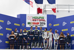 Podium LMP3: Race winner #18 M.Racing - YMR Ligier JSP3 - Nissan: Thomas Laurent, Yann Ehrlacher, Alexandre Cougnau; second place #3 United Autosports Ligier JSP3 - Nissan: Matt Bell, Mark Patterson, Wayne Boyd; third place #9 Graff Racing Ligier JS P3 - Nissan: Eric Trouillet, Paul Petit, Enzo Guibbert