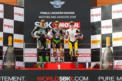Podio : il secondo, Randy Krummenacher, Puccetti Racing Kawasaki, il vincitore Kenan Sofuoglu, Pucce