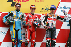 Podium: Race winner Casey Stoner, Ducati; second place John Hopkins, Suzuki; third place Nicky Hayde