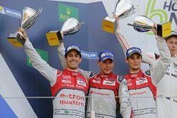 Second place #8 Audi Sport Team Joest Audi R18 e-tron quattro: Lucas di Grassi, Loic Duval, Oliver J