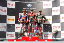 Podio: ganador de la carrera Chaz Davies, Ducati Team, segundo lugar Michael van der Mark, Honda Wor