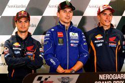 Dani Pedrosa, Repsol Honda Team, Jorge Lorenzo, Yamaha Factory Racing et Marc Marquez, Repsol Honda Team