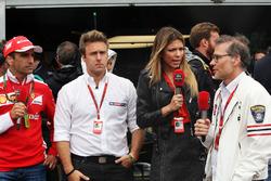 Marc Gené, piloto de pruebas de Ferrari con Davide Valsecchi, sky F1 Italia presentador, Federica Ma