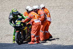 Pol Espargaro, Monster Yamaha Tech 3 is helped by marshals after crashing