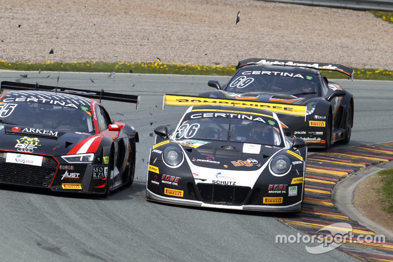 #55 Aust Motorsport, Audi R8 LMS: Xavier Maassen, Lukas Schreier and #36 bigFM Racing Team Schütz Mo
