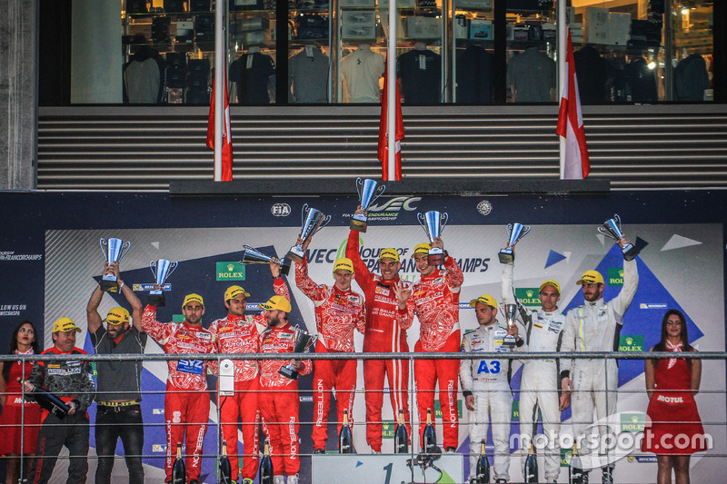 Podium LMP1: first place Matheo Tuscher, Dominik Kraihamer, Alexandre Imperatori, Rebellion Racing, second place RNicolas Prost, Nick Heidfeld, Nelson Piquet Jr., Rebellion Racing, third place Simon Trummer, James Rossiter, Oliver Webb, ByKolles Racing