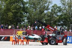 The Mercedes AMG F1 W07 Hybrid of race retiree Nico Rosberg, Mercedes AMG F1 is craned away from the
