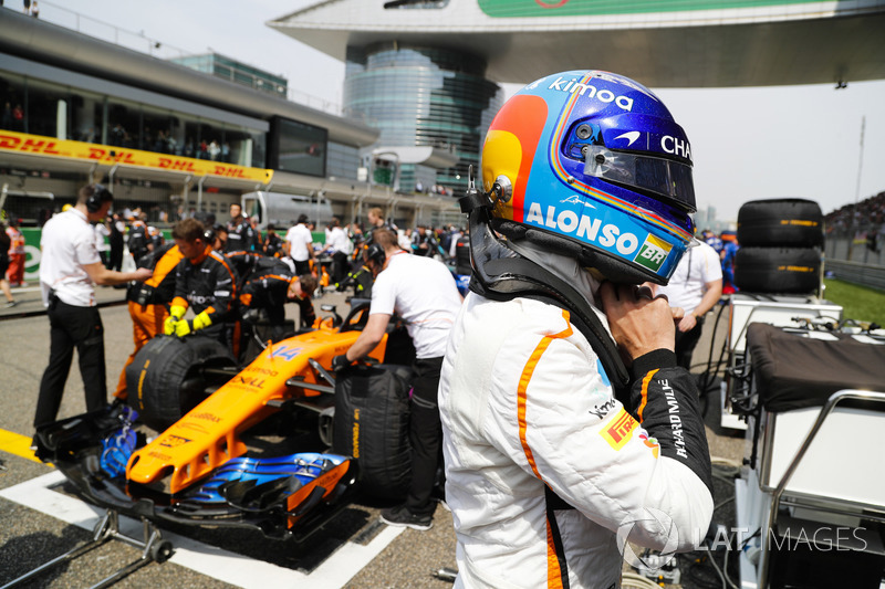 Fernando Alonso, McLaren, on the grid