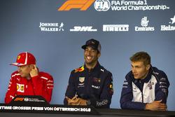 Kimi Raikkonen, Ferrari, Daniel Ricciardo, Red Bull Racing and Sergey Sirotkin, Williams in the Press Conference