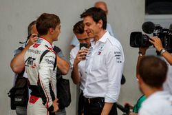 Race winner George Russell, ART Grand Prix, with Toto Wolff, Mercedes AMG F1