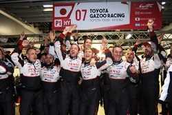Toyota Racing team members celebrate the win