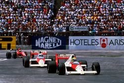 Ayrton Senna, McLaren MP4/5 leads his team mate Alain Prost, McLaren MP4/5