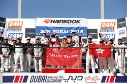 Podio GT4: ganador #248 Phoenix Racing Audi R8 LMS GT4: Philip Ellis, Joonas Lappalainen, Gosia Rdes
