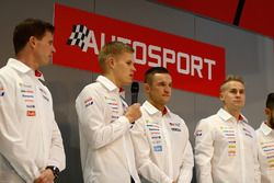 Toyota WRC drivers Ott Tanak and Esapekka Lappi on the on the Autosport Stage with Henry Hope-Frost