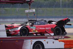 The crashed car of René Rast, Audi Sport Team Rosberg, Audi RS 5 DTM