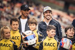 Lewis Hamilton, Mercedes-AMG F1 and Fernando Alonso, McLaren with the RACC Cadet Karters