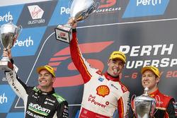 Podium: race winner Scott McLaughlin, DJR Team Penske Ford, second place David Reynolds, Erebus Motorsport Holden, third place Craig Lowndes, Triple Eight Race Engineering Holden