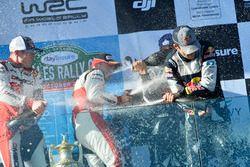 Champagne en el Podium, Sébastien Ogier, Julien Ingrassia, Ford Fiesta WRC, M-Sport, Elfyn Evans, Da