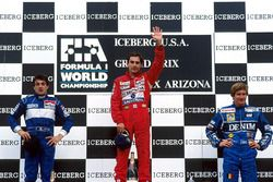 Podium: race winner Ayrton Senna, Mclaren, second place Jean Alesi, Tyrrell, third place Thierry Boutsen, Williams