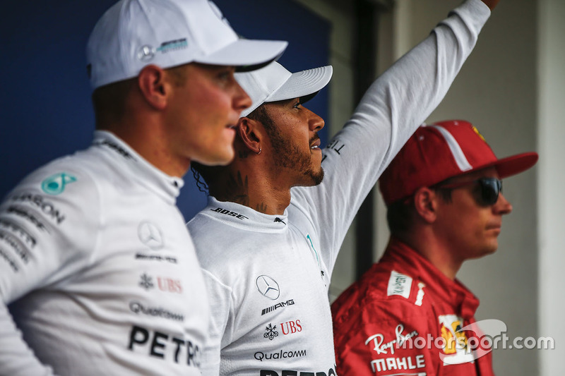 Valtteri Bottas, Mercedes AMG F1, Lewis Hamilton, Mercedes AMG F1 and Kimi Raikkonen, Ferrari in Parc Ferme