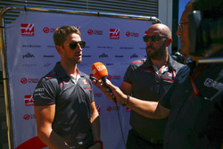 Romain Grosjean, Haas F1 Team, speaks to the media