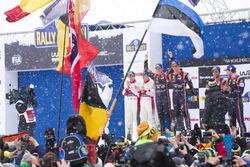 Podium: winners Thierry Neuville, Nicolas Gilsoul, Hyundai Motorsport, second place Craig Breen, Scott Martin, Citroën World Rally Team, third place Andreas Mikkelsen, Anders Jäger, Hyundai Motorsport