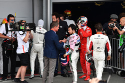 David Coulthard, Channel 4 F1 and Sergio Perez, Force India in parc ferme