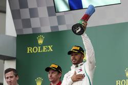 Podium: race winner Lewis Hamilton, Mercedes-AMG F1