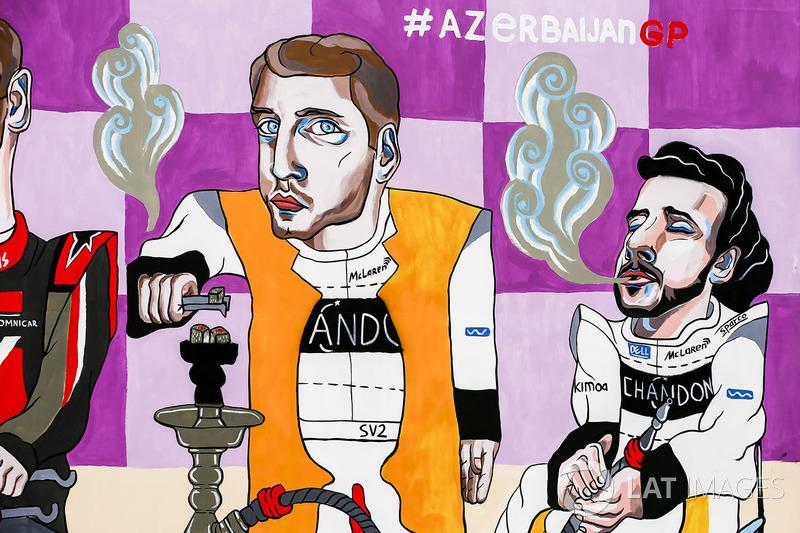 Obra que representa a Stoffel Vandoorne, McLaren y Fernando Alonso, McLaren, fumando Shisha