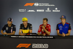 Sergio Perez, Force India, Nico Hulkenberg, Renault Sport F1 Team, Sebastian Vettel, Ferrari and Pierre Gasly, Scuderia Toro Rosso in the Press Conference