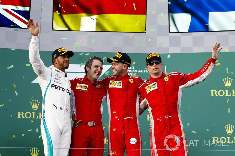 Podio segundo lugar Lewis Hamilton, Mercedes-AMG F1, Inaki Rueda, estratega de carrera de Ferrari, ganador de la carrera Sebastian Vettel, Ferrari, y tercer lugar Kimi Raikkonen, Ferrari