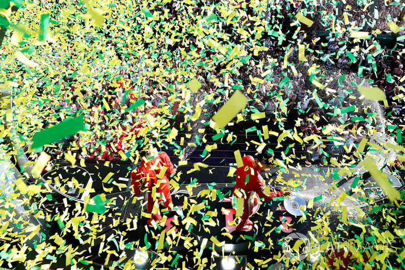 Победитель Себастьян Феттель, Ferrari, второе место – Льюис Хэмилтон, Mercedes AMG F1, третье место – Кими Райкконен, Ferrari