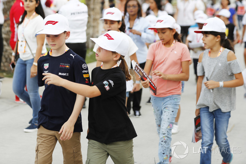 Young fans in the paddock