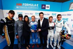 Andre Lotterer, Techeetah, Mitch Evans, Jaguar Racing, Felix Rosenqvist, Mahindra Racing, Sam Bird, DS Virgin Racing, Sébastien Buemi, Renault e.Dams