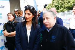 Virginia Elena Raggi, Mayor of Rome, Jean Todt, FIA President, in the media pen