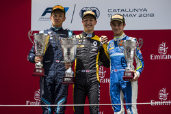 Second place Alexander Albon, DAMS, race winner Jack Aitken, ART Grand Prix, third place Lando Norris, Carlin
