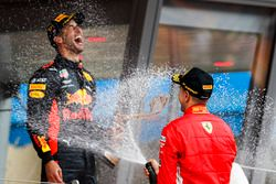 Race winner Daniel Ricciardo, Red Bull Racing, is sprayed with Champagne