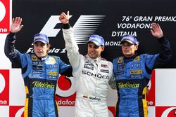 Podium: second place Fernando Alonso, Renault, third place Giancarlo Fisichella, Renault and race wi