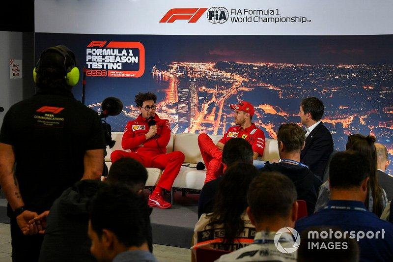 Mattia Binotto, Team Principal Ferrari, e Sebastien Vettel, Ferrari