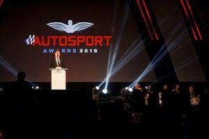 James Allen, President of Motorsport Network gives a speech on stage prior to the awards