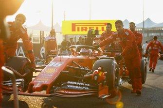Charles Leclerc, Ferrari, arrives on the grid