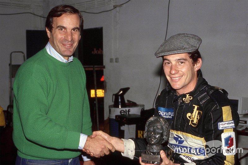 Senna e o jornalista Giorgio Piola