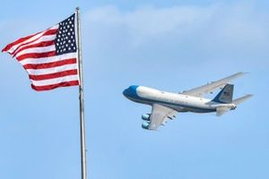 Air Force One, with President Donald Trump departs Daytona.