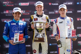 Podium: race winner Liam Lawson, second place Franco Colapinto, third place Igor Fraga