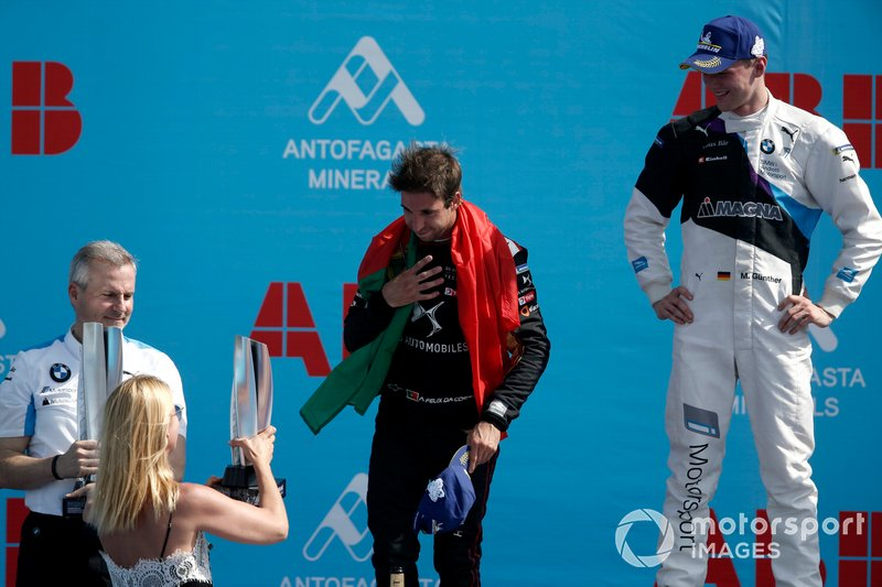 Antonio Felix da Costa, DS Techeetah, 2nd position celebrates on the podium with Race winner Maximilian Günther, BMW I Andretti Motorsports