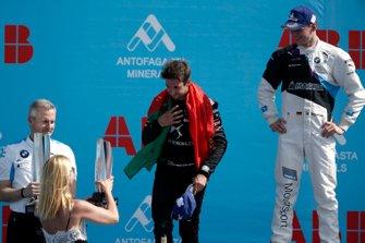 Antonio Felix da Costa, DS Techeetah, 2nd position celebrates on the podium with Race winner Maximilian Günther, BMW I Andretti Motorsports